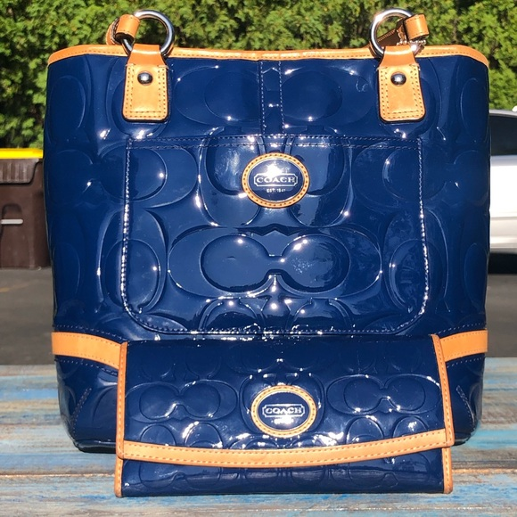 Coach Handbags - Blue Coach Patent Leather Peyton Tote & Wallet